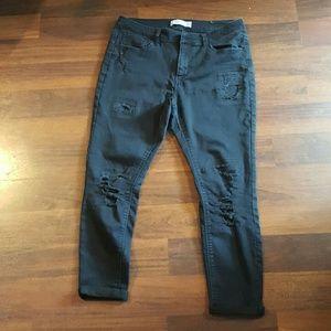 High rise black jean capris